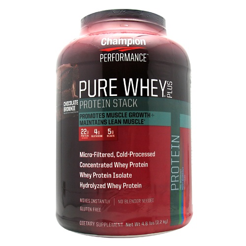 Pure Whey Protein Plus, 4.8 pound, Chocolate Brownie Flavor 027692114204