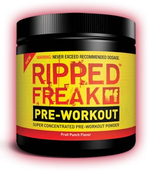 RIPPED FREAK PRE-WORKOUT POWDER, 200 Grams, Fruit Punch Flavor 855504001271