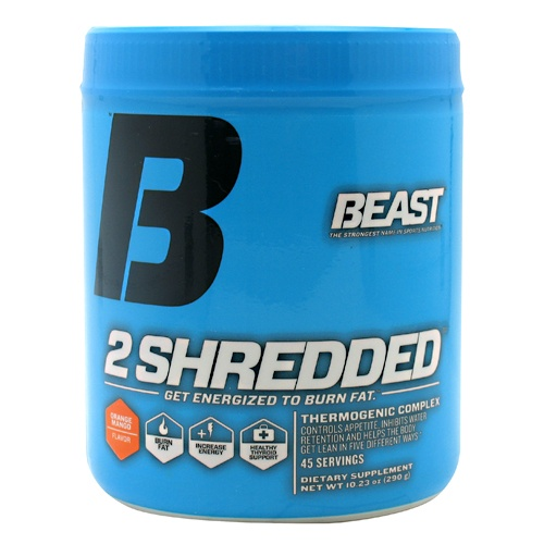 2 Shredded by Beast Sports Nutrition, 45 Servings, Orange Mango Flavor 631312707013