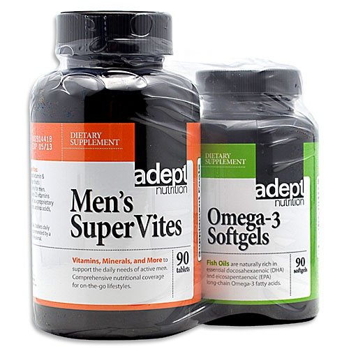 Adept Nutrition Men's Supervites/Omega-3 Softgels Combo, 3 Softgels