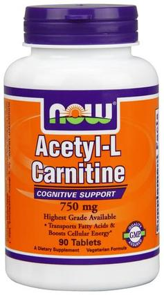 NOW Foods Acetyl-L-Carnitine 750 mg. per tablet, 90 Tablets