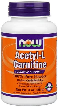 NOW Foods Acetyl-L-Carnitine Powder, 3 Ounces