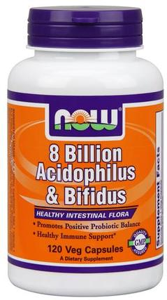 NOW Foods Acidophilus and Bifidus 8 Billion, 120 Capsules