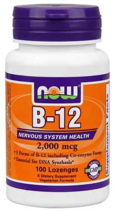 NOW Foods B-12 2000 mcg. Chewable Lozenges, 100 Chewable Lozenges