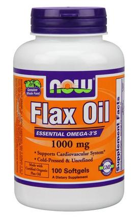 NOW Foods Flax Oil 1000 mg. per gel, 100 Softgels