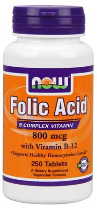 NOW Foods Folic Acid + B-12, 250 Tablets