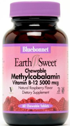 Bluebonnet Nutrition EarthSweet® Chewables Methylcobalamin Vitamin B12 5000 mcg Tablets, 60 Chewables