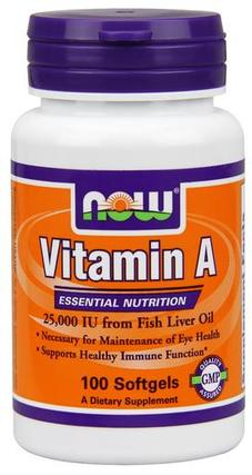 NOW Foods Vitamin A 25,000 IU, 100 Softgels