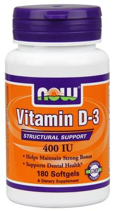 NOW Foods Vitamin D-3 400 IU, 180 Softgels