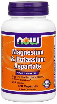NOW Foods Magnesium & Potassium Aspartate with Taurine, 120 Capsules