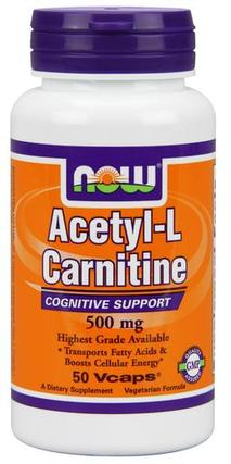 NOW Foods Acetyl-L Carnitine 500 mg., 50 Vegi Capsules