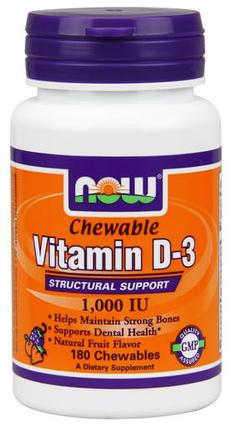 NOW Foods Vitamin D-3 1,000 IU Chewables, 180 Chewables