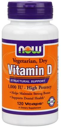 NOW Foods Vitamin D 1,000 IU Dry, 120 Vegi Capsules