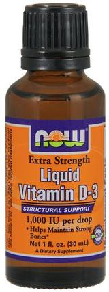 NOW Foods Vitamin D-3 Liquid Extra Strength, 1 Ounce