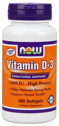 4 Dimension Nutrition Vitamin D-3 1,000 IU Softgels, 360 Softgels