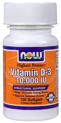 NOW Foods Vitamin D-3 10,000 IU Softgels, 120 Softgels