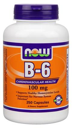 NOW Foods Vitamin B-6 100mg, 250 Capsules