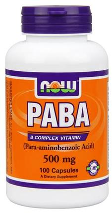 NOW Foods PABA 500mg Capsules, 100 Capsules