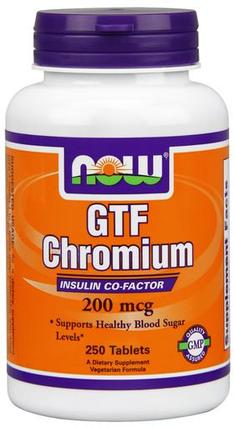 NOW Foods GTF Chromium 200 mcg Yeast Free, 250 Tablets