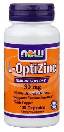 NOW Foods L-OptiZinc 30 mg Caps, 100 Capsules