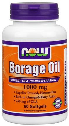 NOW Foods Borage Oil 1000 mg Softgels, 60 Softgels