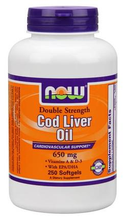 NOW Foods Cod Liver Oil 650 mg Softgels, 250 Softgels