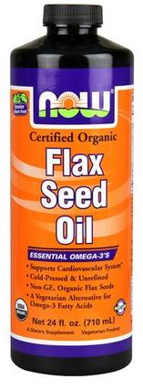 NOW Foods Flax Seed Oil, Certified Organic, 24 Fluid Ounces