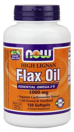 NOW Foods Flax Oil 1000 mg Softgels, 120 Softgels