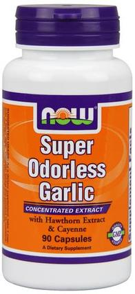 NOW Foods Garlic Super Odorless Capsules, 90 Capsules
